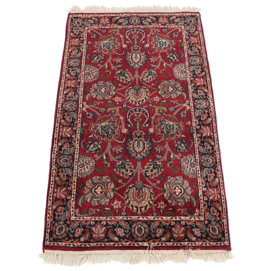 2'10 x 5'5 Hand-Knotted Indian Masad Wool Accent Rug
