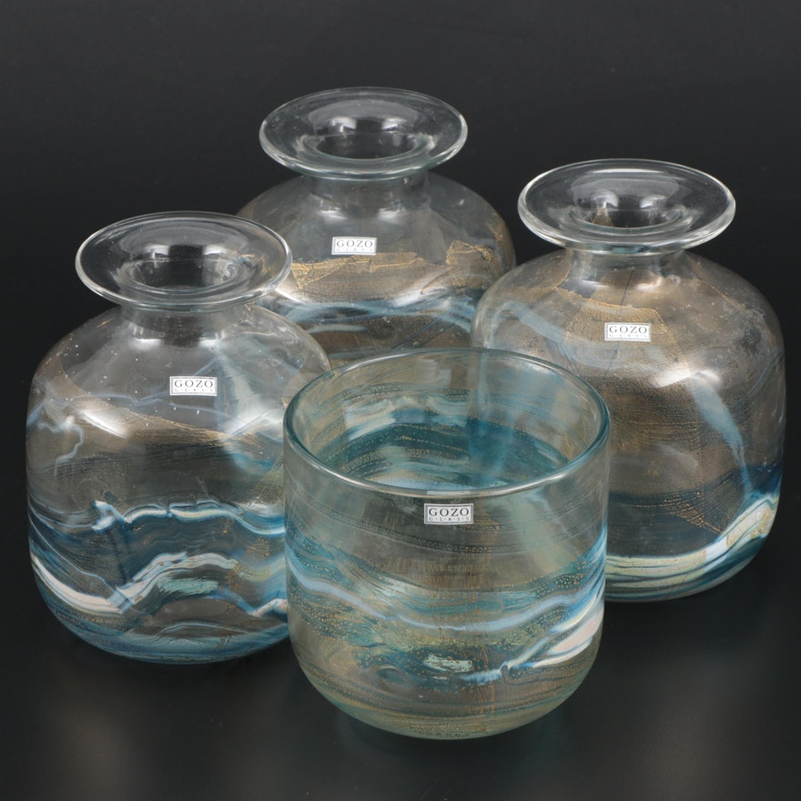 Gozo Art Glass Blue and Gold Vases and Decorative Bowl