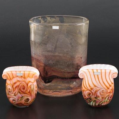 Gozo Art Glass Tall Vase and Volute Rim Vases