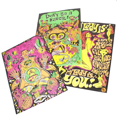 Mitch O'Connell Psychedelic Black Light Posters