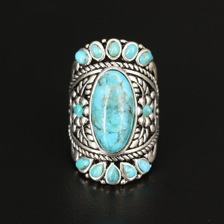 Sterling Turquoise Floral Ring