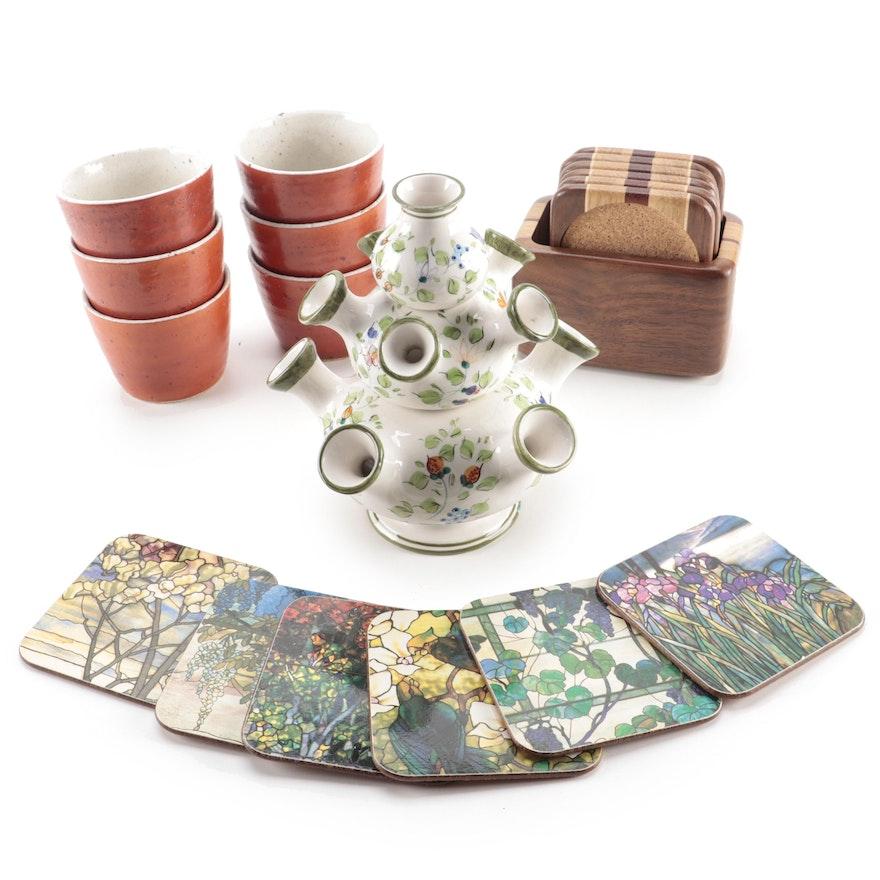 Italian Hand-Painted Tulipiere Vase, Stoneware Ramekins and Coaster Collections