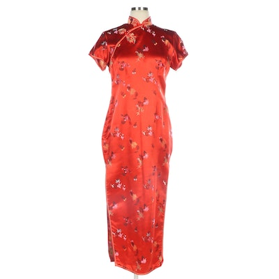 Chinese Longevity Red Floral Brocade Cheongsam Dress, Vintage