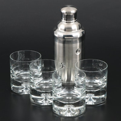 Marquis by Waterford Stainless Steel Cocktail Shaker with Other Rocks Glasses