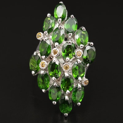Sterling Diopside and Sapphire Cluster Ring
