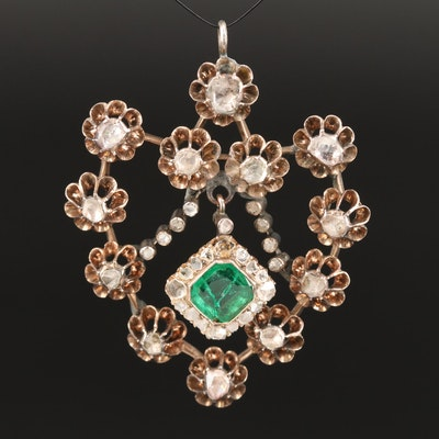 Georgian 8K Diamond Pendant with Emerald and Diamond Halo Drop
