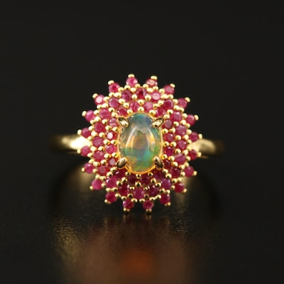 Sterling Silver Opal and Corundum Ring