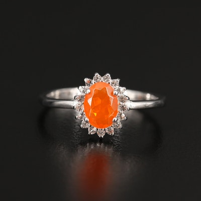 Fire Opal and Topaz Halo Ring in Sterling