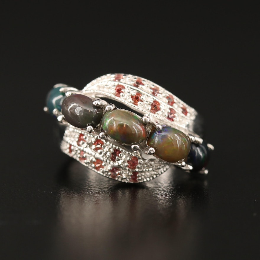 Sterling Silver Opal and Sapphire Ring with Bypass Design
