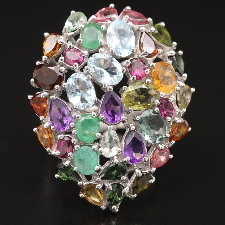 Sterling Cluster Ring with Emerald, Amethyst and Tourmaline