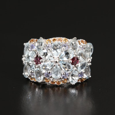 Sterling Aquamarine, Rhodolite Garnet and Tanzanite Floral Cluster Ring