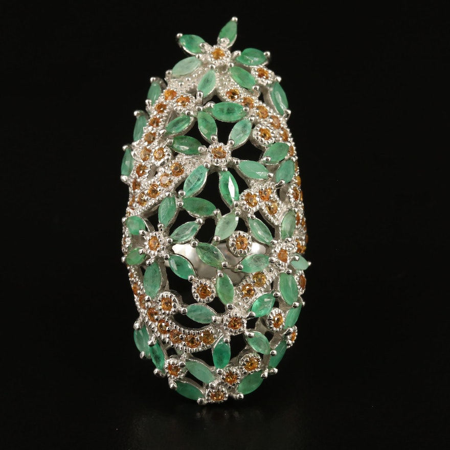 Sterling Silver Emerald and Sapphire Floral Pointer Ring