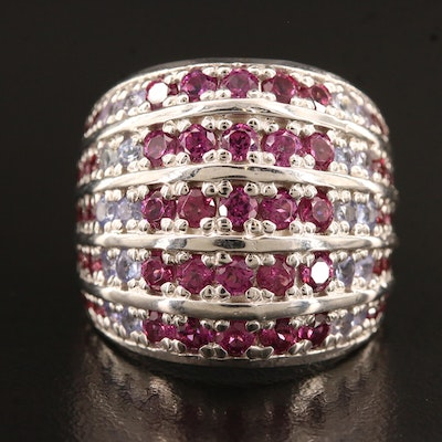 Sterling Silver Garnet, Tanzanite and Diopside Dome Ring