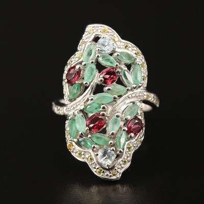 Sterling Silver Emerald, Garnet and Sapphire Openwork Ring