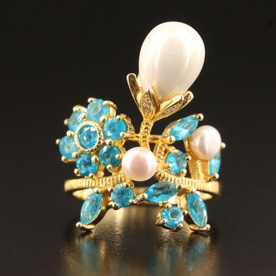 Sterling Silver Apatite and Pearl Ring with Faux Pearl Accent