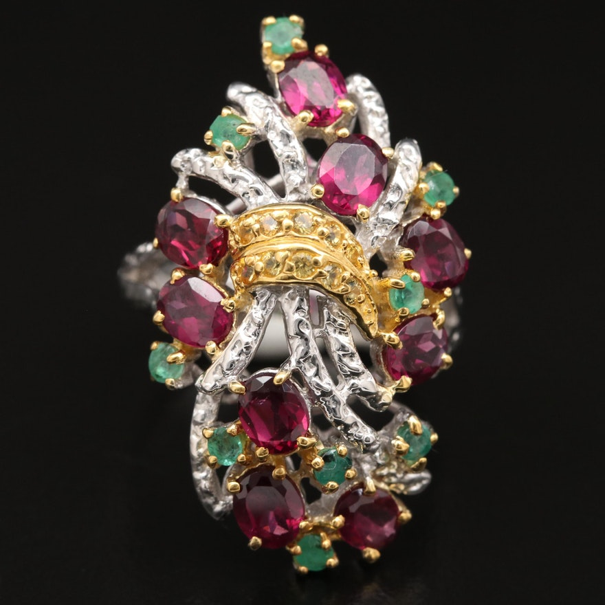Sterling Rhodolite Garnet, Emerald and Sapphire Bale Motif Ring