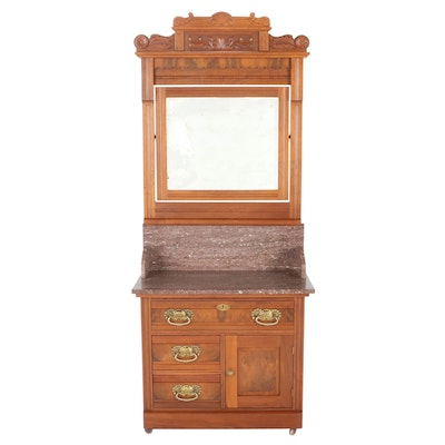Late Victorian Walnut Marble Top Washstand, Early 20th Century