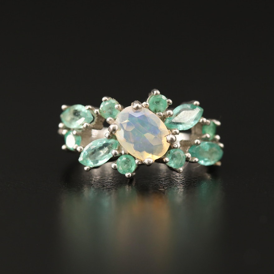 Sterling Opal and Emerald Cluster Ring