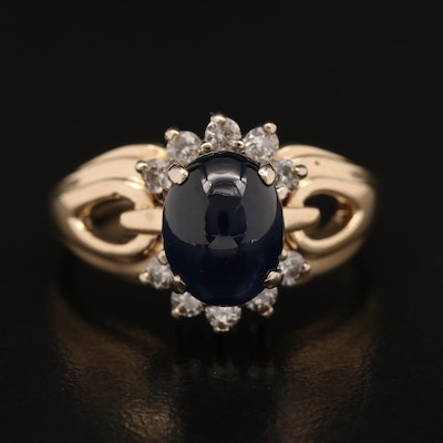14K Sapphire and Diamond Ring with Open Detail Shoulders