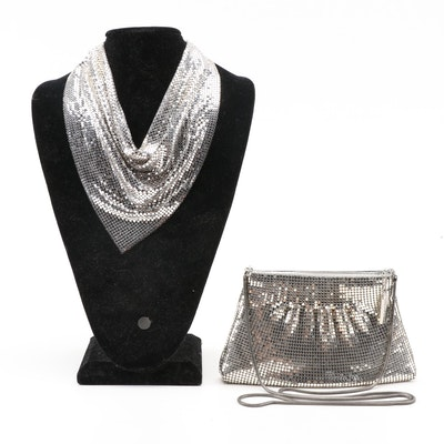 "Whiting & Davis ""Golden Look"" Bib Necklace with W&D International Mesh Bag"