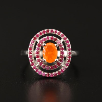 Sterling Silver Opal and Ruby Double Halo Ring