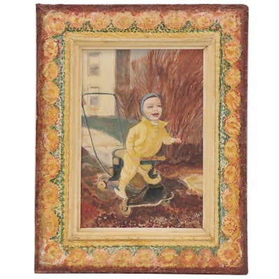 Earl Hasting Beymer Folk Art Oil Painting of Child in Yellow Suit