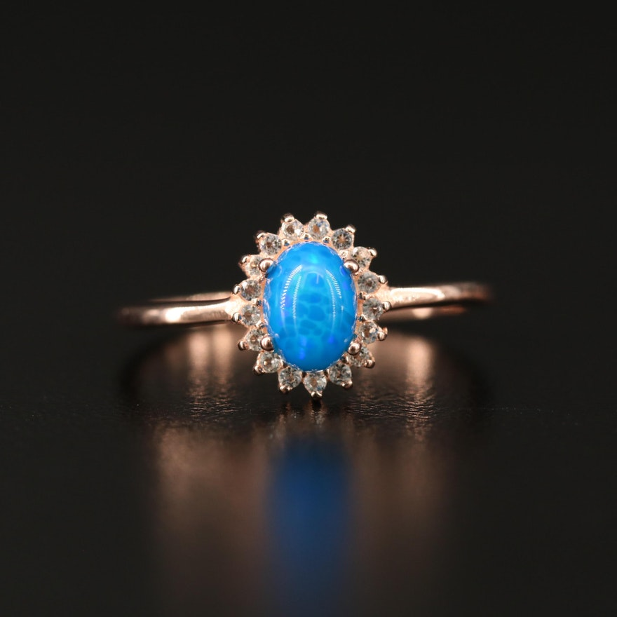 Sterling Silver Opal and Cubic Zirconia Halo Ring