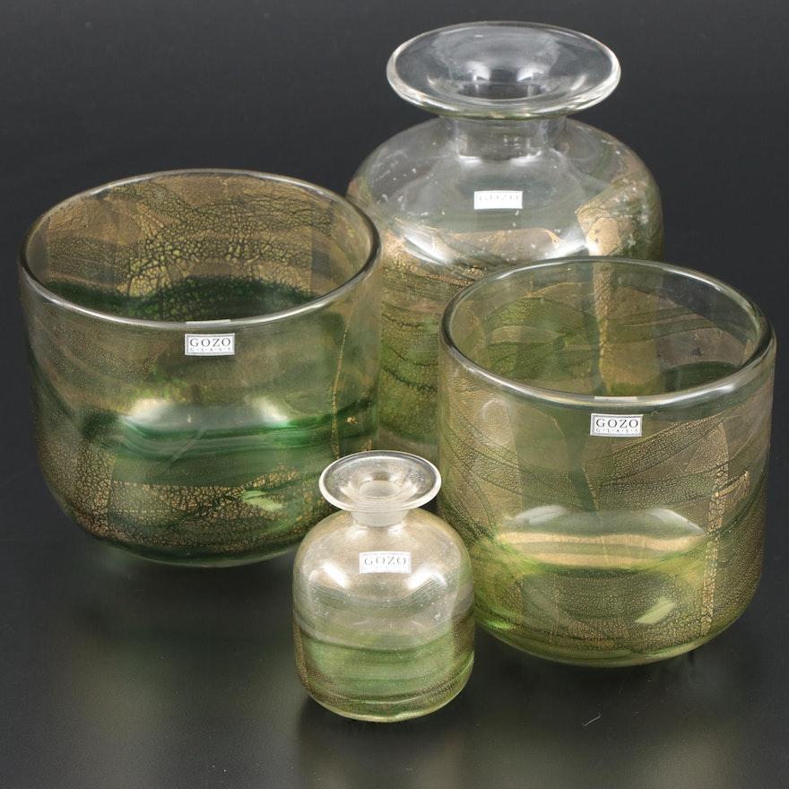 "Gozo Green and Gold Art Glass ""Verdi"" Vases"