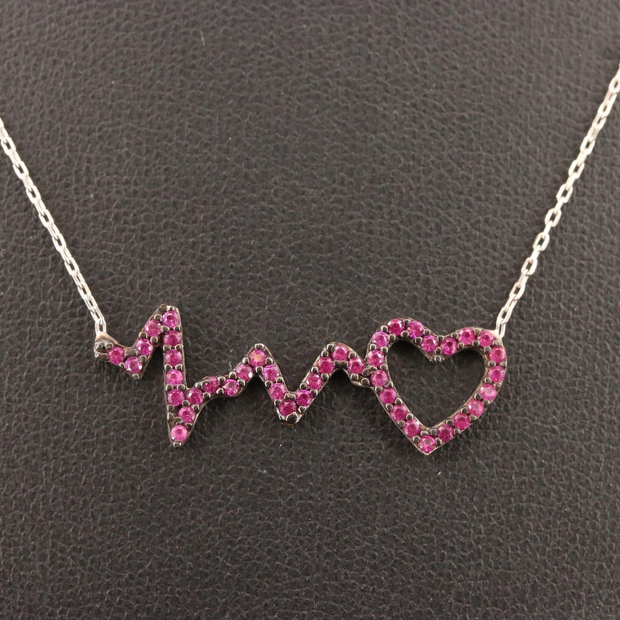 Sterling Silver, Synthetic Ruby Beating Heart Necklace