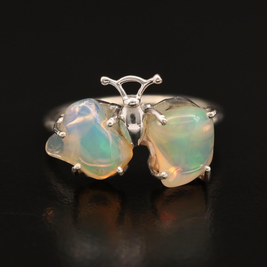 Sterling Silver Opal Butterfly Ring