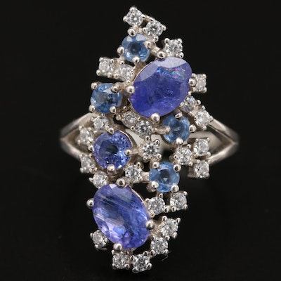Sterling Tanzanite and Cubic Zirconia Cluster Ring