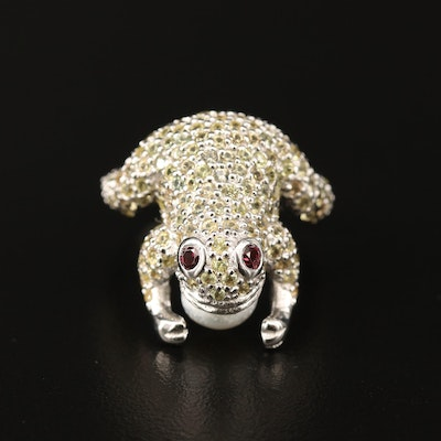 Sterling Pearl, Garnet and Sapphire Frog Ring
