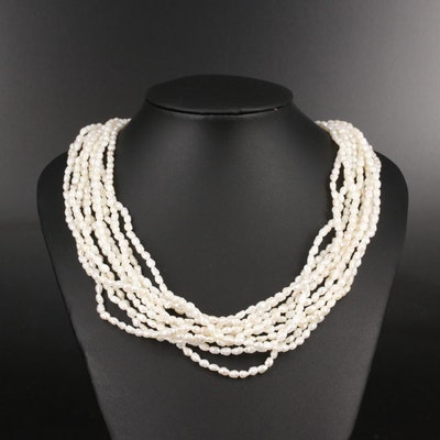 Multi-Strand Baroque Pearl Necklace with 14K Clasp