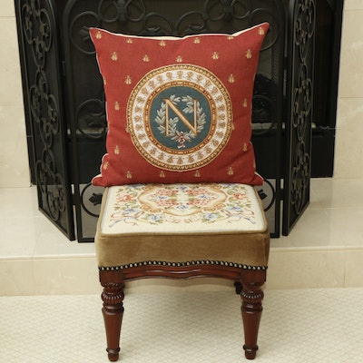 Needlepoint Ottoman and Pillow From Château de Fontainebleau