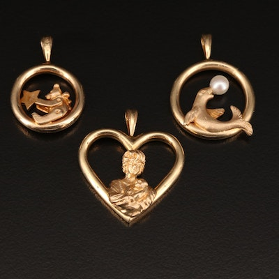 14K Pendants Featuring Seal with Pearl, Teddy Bear, and Mother and Child Motifs