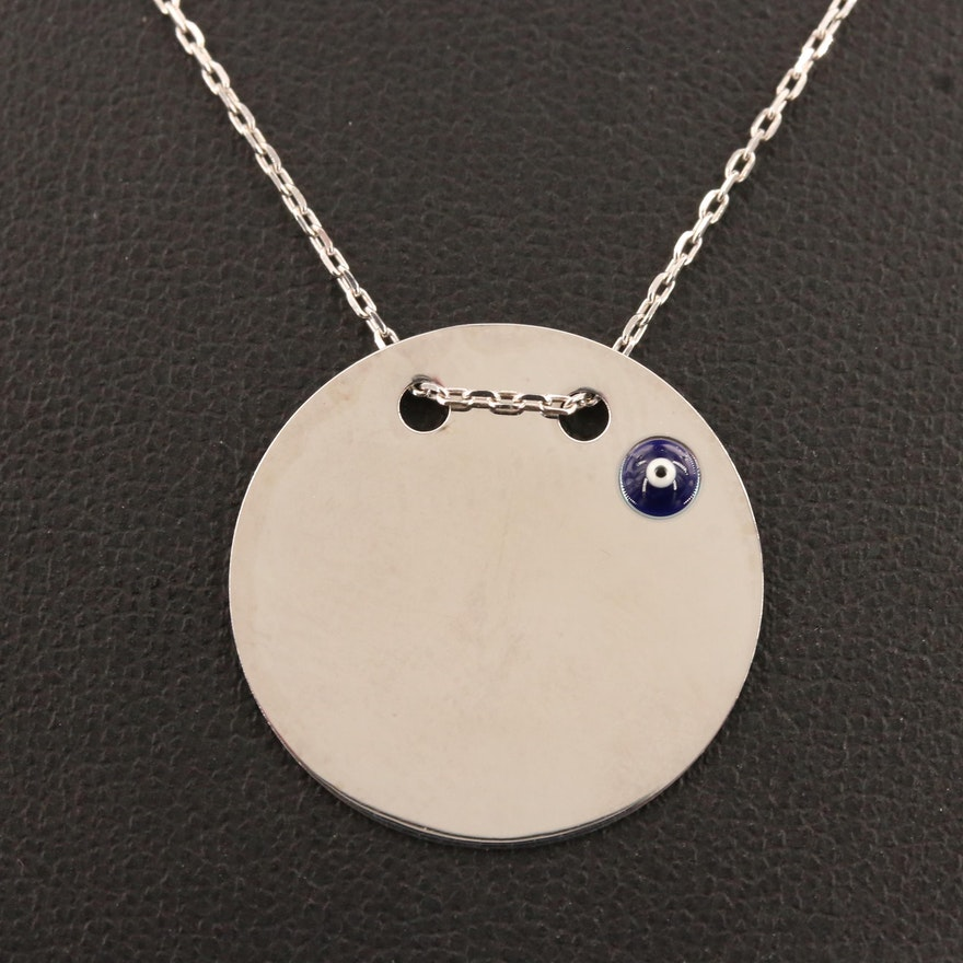 Sterling Silver 'Evil Eye' Disk Pendant Necklace