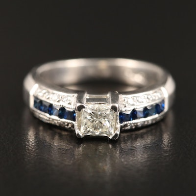 Tacori Platinum Diamond and Sapphire Ring