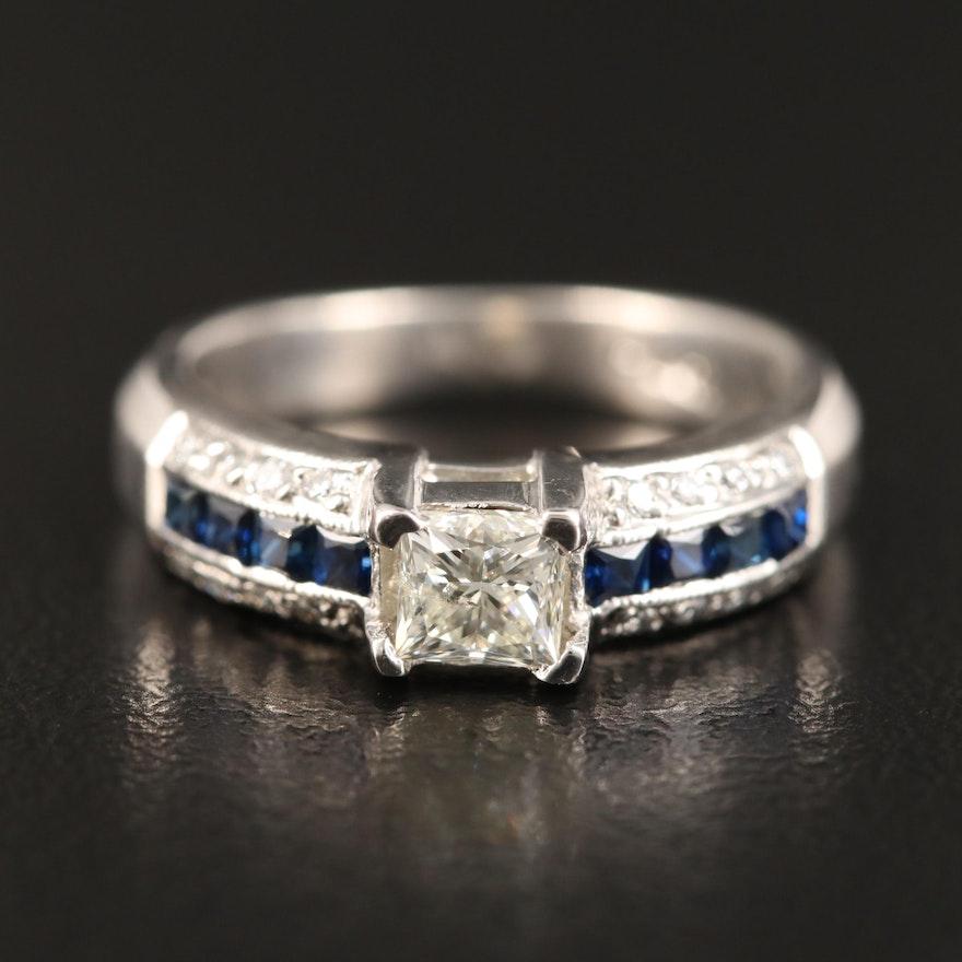 Tacori Platinum Diamond and Sapphire Ring