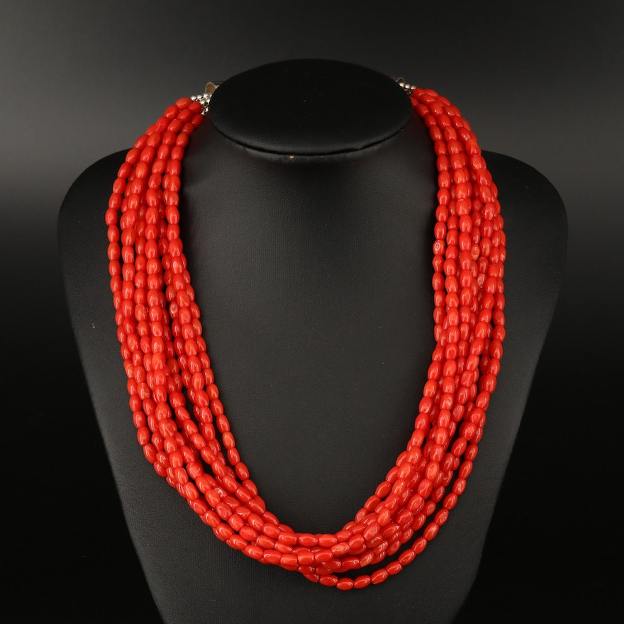 Desert Rose Trading Coral Multi-Strand Beaded Coral Necklace