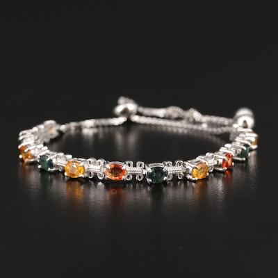 Sterling Silver Sapphire Bolo Bracelet