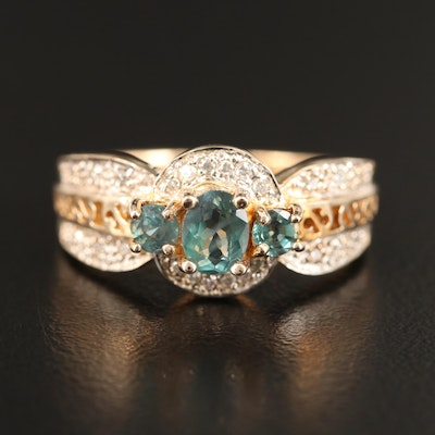 14K Alexandrite and Diamond Ring