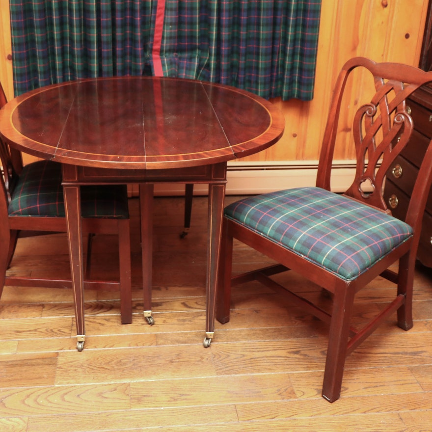Baker Drop-Leaf Mahogany Dining Table with String Inlay, and Two Dining Chairs