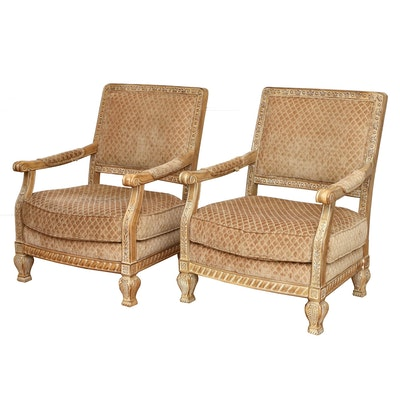 Schnadig Furniture Upholstered Fauteil Armchairs, Contemporary