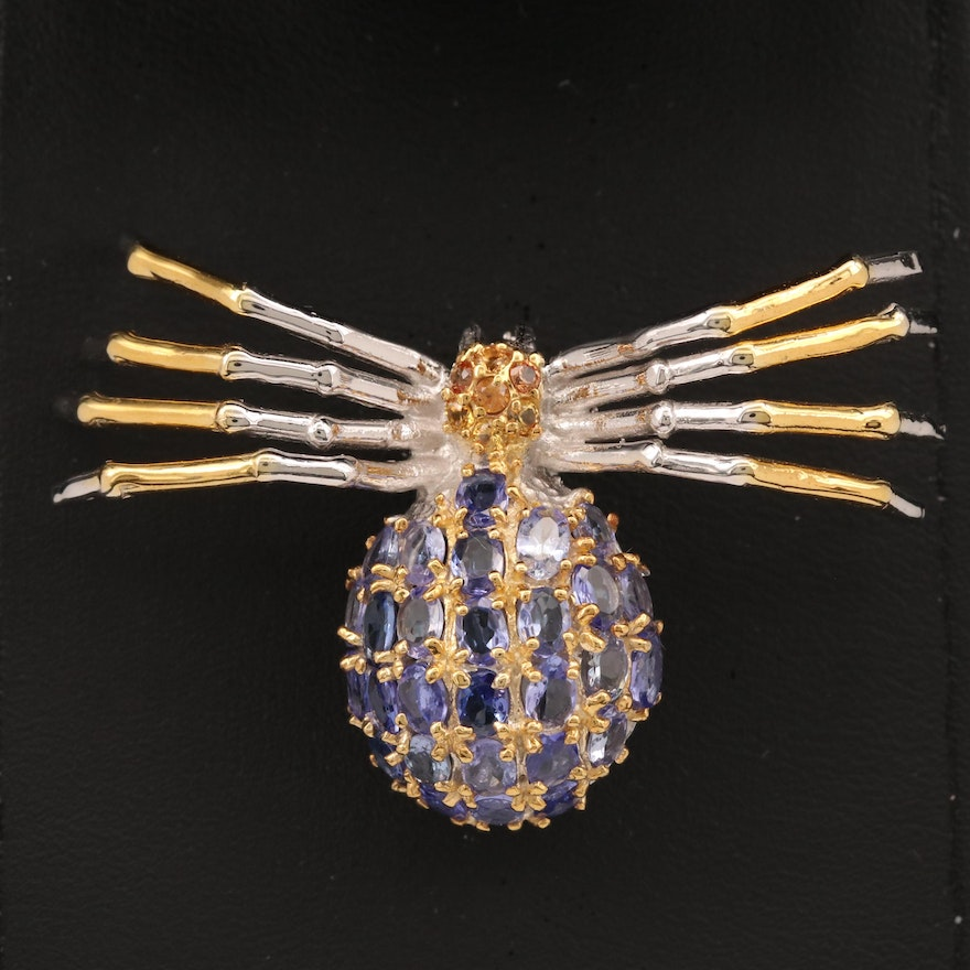 Sterling Silver Tanzanite and Sapphire Spider Motif Brooch