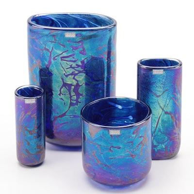 "Gozo ""Midnight Collection"" Iridescent Art Glass Vases"
