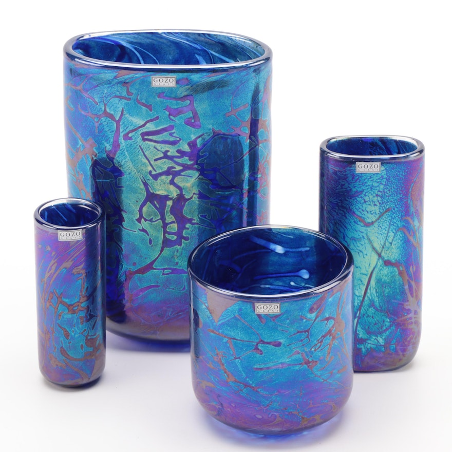 "Gozo ""Midnight Collection"" Iridescent Art Glass Vases"
