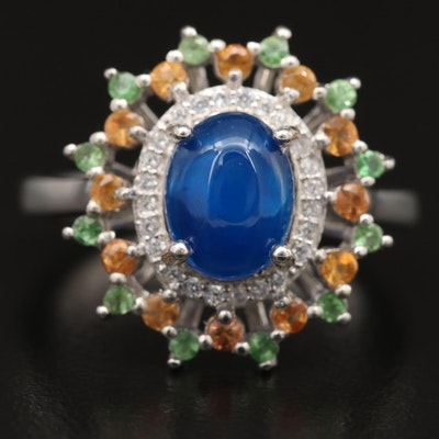Sterling Silver Cubic Zirconia, Sapphire and Peridot Ring