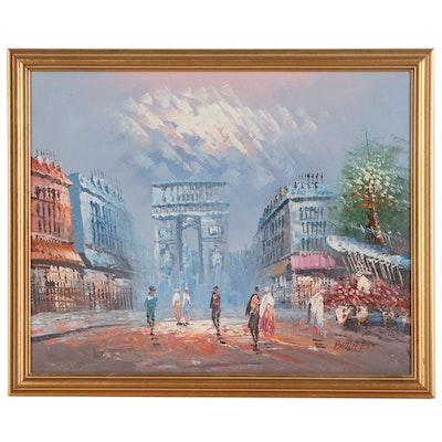 Parisian Street Scene Oil Painting in the Style of Caroline Burnett