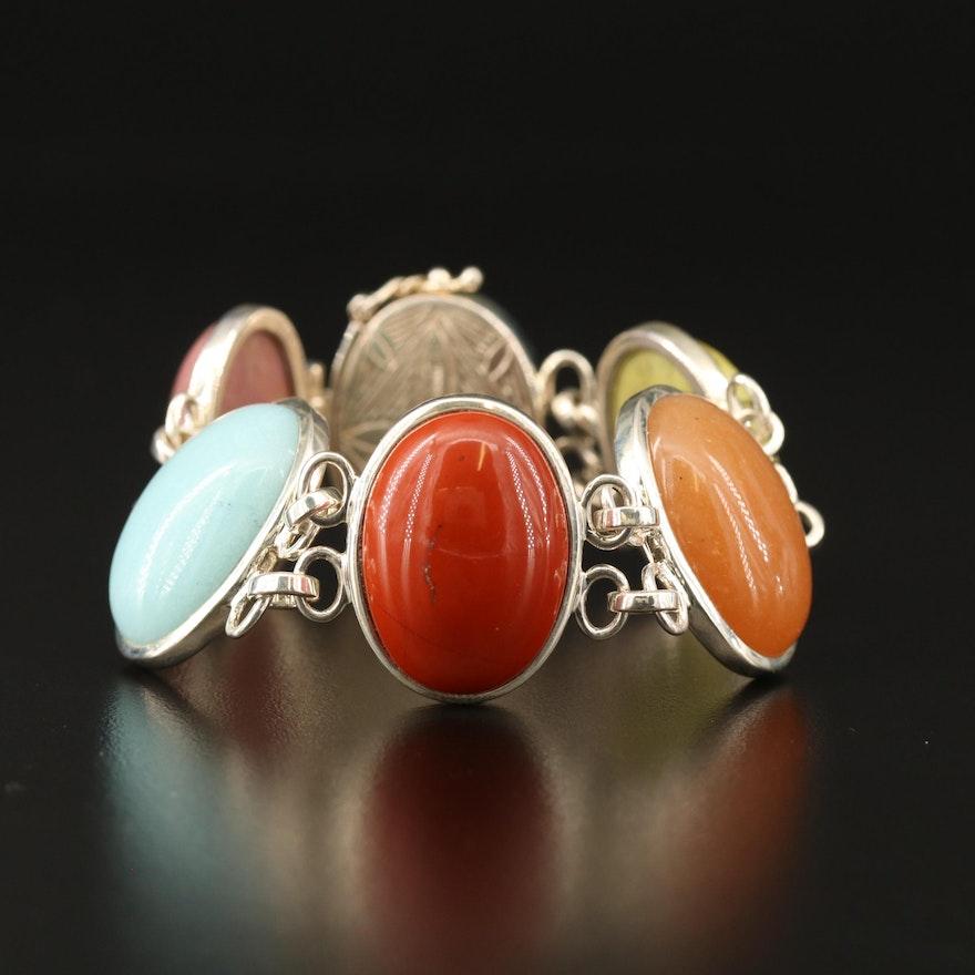 Whitney Kelley Sterling Silver Jasper, Quartzite and Thulite Oval Link Bracelet