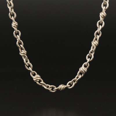 Sterling Silver Fancy Link Chain Necklace